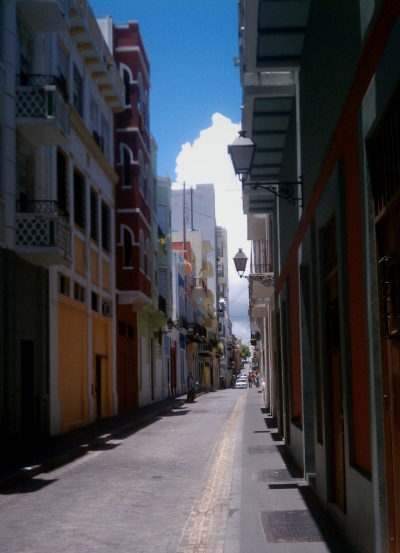 A typical colorful street in Old San Juan, Puerto Rico.